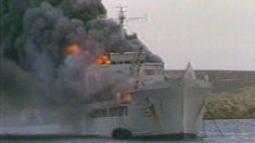 The Falklands War. This is the RFA Galahad on fire. When you are a young child this sort of thing is exciting, when you grow up the reality of it is quite horrific for those who stop to think about it...