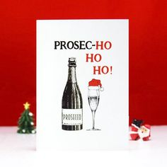 Funny Christmas Card idea: For those lively family members who enjoy more than a few glasses at the annual holiday party, this Prosecco pun will definitely score some giggles.