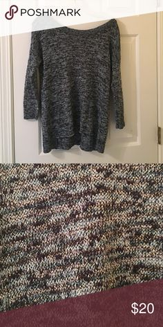 Blue and black shimmery sweater; so comfy AE sweater so cute and in amazing condition! You can see the color in the last picture perfectly! American Eagle Outfitters Sweaters Crew & Scoop Necks