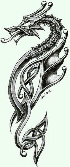 dragon in celtic style. i'm very satisfied inspiration - tattoo studio zagreb - zele celtic dragon 2 Chinese Tattoo Designs, Dragon Tattoo Designs, Celtic Dragon Tattoos, Viking Tattoos, Viking Dragon Tattoo, Tribal Dragon Tattoos, Sea Horse Tattoos, 3d Dragon Tattoo, Tattoo Celtic