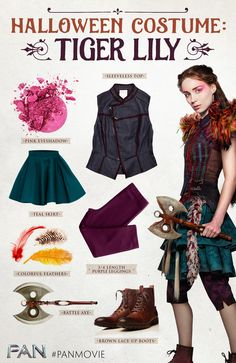 Tiger Lily's warrior style is the perfect inspiration for your next Halloween  costume! Colorful clothing, feathers, and pom-poms are must-haves for Rooney Mara's iconic PAN character, and braided hair completes the look.