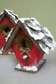 Christmas Bird Houses by VisionsbySimonne on Etsy, $12.00