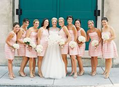 Preppy Charleston Wedding by Virgil Bunao « Southern Weddings Magazine Perfect Wedding, Dream Wedding, Wedding Day, Destination Wedding, Wedding Wishes, Wedding Bells, Striped Bridesmaid Dresses, Pink Dresses, Rose Mauve