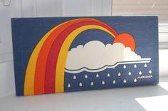 70s Marushka silk screen rainbow sun cloud print