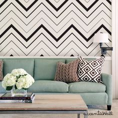 Chevron Bold Black Peel & Stick Fabric Wallpaper Repositionable - Simple Shapes Wall Decals, Furniture, and Accessories Wallpaper For Sale, Bold Wallpaper, Wallpaper Samples, Fabric Wallpaper, Peel And Stick Wallpaper, Print Wallpaper, Cleaning Walls, Traditional Wallpaper, Simple Shapes