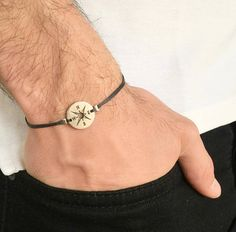 Men's Silver Plated Compass Nautical Friendship Bracelet