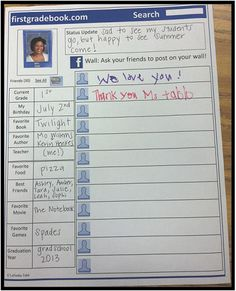 Mrs. Tabb @ First Grade Awesomeness: FACEBOOK (firstgradebook) Last Day of School Memory Book Printable!