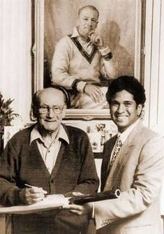 "One of the gr8 & best moment ever in #Cricket history.  ""Sachin Tendulkar with Sir Donald Bradman"" :)"