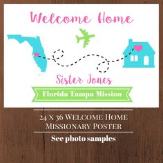 This adorable welcome home sign is the perfect size to take to the airport or display at home to welcome that special missionary home! This is a 24 x 36 inch digital file. Completely customizable to have your missionarys name and mission, with state/county map. Just pick your colors!  ***PLEASE NOTE: THIS IS A DIGITAL DOWNLOAD, NOTHING WILL BE MAILED TO YOU*** These posters can be printed at Staples, Office Max, Vista Print, etc. (or other online printers.)  [HERES HOW TO ORDER:] READ &a...