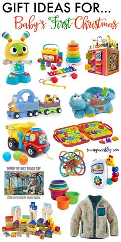 The best baby toys and gift ideas for baby's first Christmas. These gifts will grow with baby well into the toddler years. Great picks for boys and girls! #christmasgifts #babysfirstchristmas #besttoys #giftlist