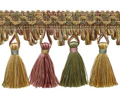 5 Yard Value Pack of Dusty Rose, Pastel Green, Lt Gold 2 Imperial II Tassel Fringe Style# Color: ROSE. Burgundy And Gold, Green And Gold, Red Gold, Custom Valances, Custom Curtains, Fringe Fashion, Passementerie, Light Peach, Coordinating Fabrics