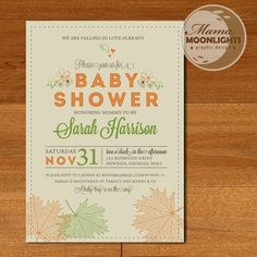 Autumn Baby Shower Modern Whimsical Printable 5x7 Invitation - Fall Leaves, Hearts, Flowers (Orange, Green, Brown) Thanksgiving Invite. $15.00, via Etsy.