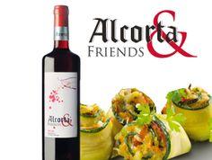 Alcorta & Friends tinto con rollitos de verduras.