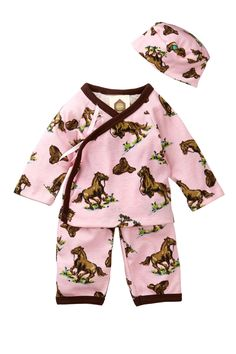 Long Sleeve Kimono and Hat - 3 Piece Set (Baby Girls) on HauteLook - Eco  Chic 812980c2fcd9
