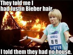Try not to cry when you read this...whew...I promise your hair is WAY better than Bieber's, Taemin ;)
