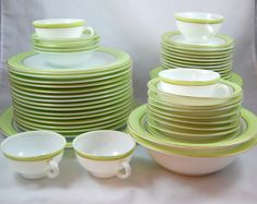 Vintage Pyrex Lime Dinnerware 22K Gold Band - 59 Pieces on Etsy, $250.00