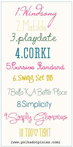 Polka Dot Pixies favorite fonts