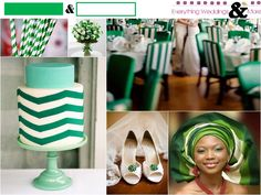 Green and White Wedding Inspiration Board