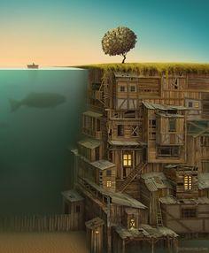 Digital Paintings of Surreal Islands