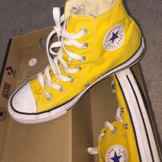 Hightop yellow converse Yellow converse, hightop ! Size 6, 8 in womens Shoes Sneakers