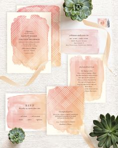 Bohemian brides will gush over Minted artist Rebecca Bowen's wedding invitation, which features a watercolor ombre wash over a masked geometric design. Find this modern design on Minted.com