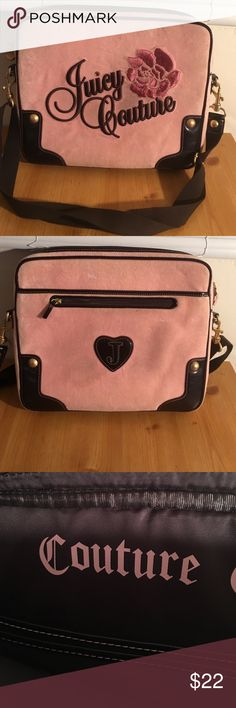 JUICY COUTURE BRIEFCASE COMPUTOR CASE 14 INCH PREOWNED USED AVERAGE COSMETIC WEAR FOR THE COLOR. A FEW LOOSE STRINGS ON THE FLOWER BUT OVERALL A GREAT CASE FOR DOCUMENTS LAPTOP IPAD ETC 14 INCHES WIDE BY 12 HIGH. GOOD DBL SHOULDER STRAP JUICY COURURE Accessories Laptop Cases