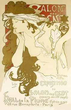 Poster of the Exposition of the Salon Des Cents, by Alphonse Mucha