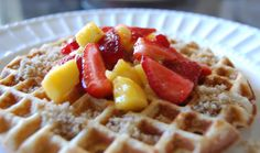 Whole Wheat Waffles with Strawberry Mango Topping
