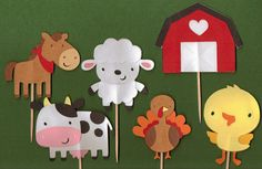 Old McDonald Farm Animal Cupcake Topper Set of by PartyBees, $9.00