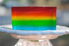 Rainbow Jello - tip cool jello to room temp (about 15 min) before you poor each layer to prevent blending the layers.