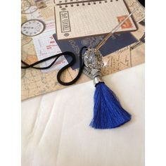 Blue Silk Tassel Necklace, Long Crystal Necklace, Long Tassel... ($37) ❤ liked on Polyvore featuring jewelry, necklaces, charm necklace, tassel necklace, long pendant necklace, silk cord necklace and pendant necklace