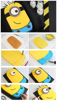 ♡❤ Despicable Me Minion Sheet Cake Ingredients: 1 box Betty Crocker® SuperMoist® butter recipe yellow cake mix Water, butter and eggs called for on cake mix box 1 container Betty Crocker® Whipp. Bolo Minion, My Minion, Minion Cakes, Despicable Me Party, Minion Party, Crazy Cakes, Cupcake Birthday Cake, Cupcake Cakes, Bolo Diy