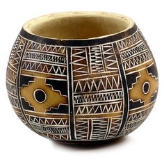 """Gourd Bowl - Chacana Carving Geometric 5"""""""