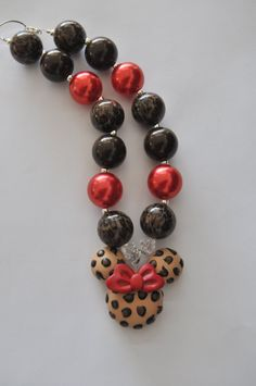 Minnie Mouse inspired chunky necklace Bubblegum by Beadiful Necklaces, $19.00, leopard, red, Minnie pendant