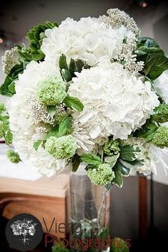 Beautiful white and green arrangements