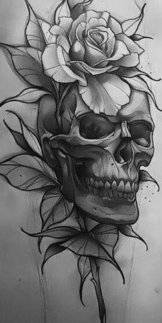 Schädel und Skelette: Große Tattoo-Idee skull tattoo designs - Tattoos And Body Art Tatto Skull, Skull Rose Tattoos, Skull Tattoo Design, Flower Tattoos, Body Art Tattoos, Sleeve Tattoos, Tattoo Hip, Skull Tattoo Flowers, Yakuza Tattoo