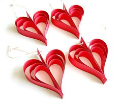Red Paper Heart Garland  Wedding Decoration red heart by Pelemele, £15.00