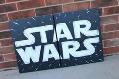 star wars logo art . 20x32 . original hand painted . star wars theme decor . bedroom, nursery, navy, blue, white, gray . sincerelyyou print