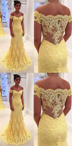 Mermaid/Trumpet Evening Prom Dresses Long Yellow Dresses With Side Zipper Lace Sweep Train Magnificent Prom Dresses  G228