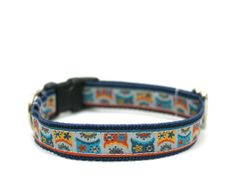 "3/4"" dog collar Retro Owls martingale or buckle collar"