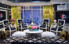 The Mongolian Lamb Bench and the Ulu Brass Side Table as seen on the set of E! Fashion Police