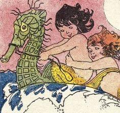 Antique seahorse paper