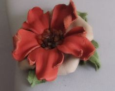 Jewerly leather flower brooch - pastel colours , pin , hair clip , accesoires for your handbag , hat or belt .