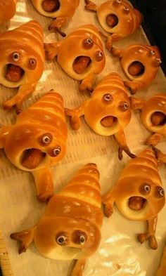 Hot Dog Monsters - Make bread cones using refrigerated bread sticks, insert hot dog.