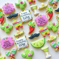"""366 Likes, 23 Comments - Margaret Rettig Nelson (@bluesugarcookieco) on Instagram: """"Fiesta minis Click on the pic for links for the cutters #minicookies #decoratedcookies…"""""""