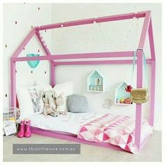 This is awesome!! She would love it with some twinkle lights, curtains, cute!
