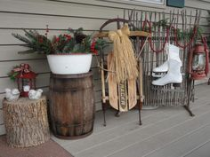 ideas for simple front porch Christmas decor