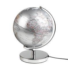 """Gentleman's Hardware - Stylish Silver Illuminated 10"""" Desktop Globe Light   This stylish silver 10"""" globe is presented in a rather lovely vintage style kraft box. Light's up to give a sophisticated glow in any room an ideal gift for the traveller in your life."""