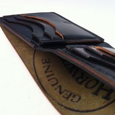 These Shell Cordovan wallets are hand made with Americana craftsmanship – hand cut, gauged, and pricked with an awl. Full Grain Leather Wallet, Leather Bifold Wallet, Ashland Leather, Leather Wallets, Leather Working, Leather Craft, Ashland Oregon, Shells, Men's Clothing