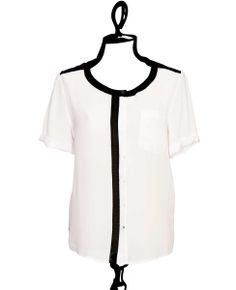 Short Sleeve Blouse With Trim by Covet